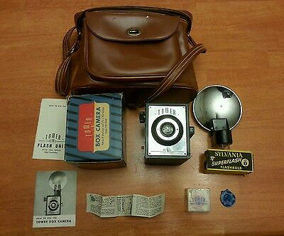 Tower Box Camera Sears with Flash Unit, Org. Instructions, Box, Bag, Filters