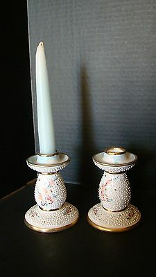 Pair Of Unique Italian Hand Painted Porcelain Candlesticks