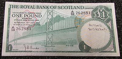 1970 + The Royal Bank of Scotland Limited £1.00 Banknote