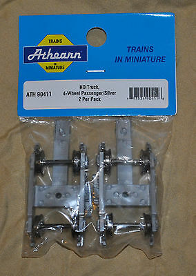 Athearn HO 90411 4 Wheel Passenger Truck Silver Pack Of 2 New