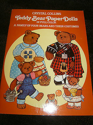 Teddy Bear Paper Dolls by Crystal Collins, 1983 Uncut Book 16 Pages