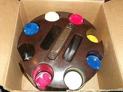 Vintage Pleasantime Revolving Poker Chips Rack with BOX