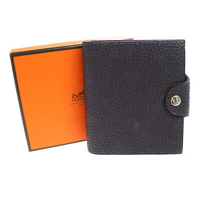 Authentic HERMES Vintage Agenda Note Book Cover Purple Leather France V05545