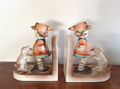 Charming Vintage Bookend Pair Girl Lass Puppy Dog as found Hummel-like