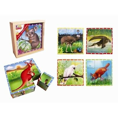 AUSTRALIAN ANIMALS Cube PUZZLE Educational WOODEN CHILDREN Preschool Toy in BOX