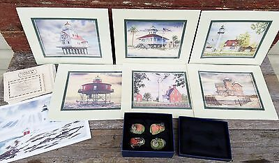 Harbour Lights Artwork Prints & Spyglass Collection of Lighthouse Figurines Lot
