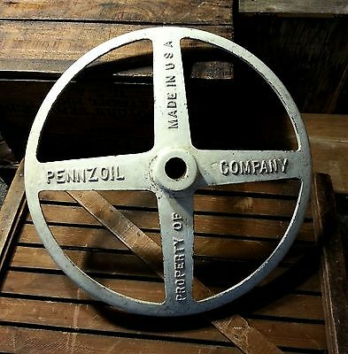 Early PENNZOIL Cast Iron Sign Base - Rare Wagon Wheel Style Lollipop Sign Stand