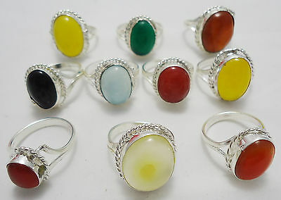 Garnet & Mix Gemstone Wholesale Lot 10Pc 925 Sterling Silver Overlay Latest Ring