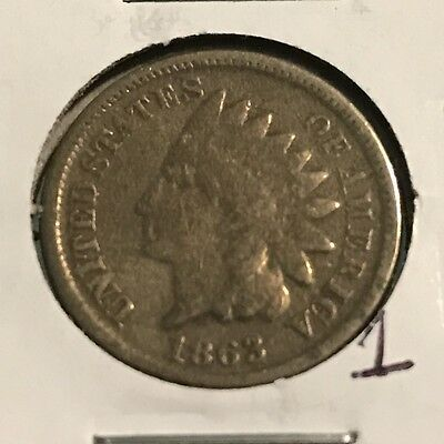 1863 Indian Head Cent: Copper-Nickel Composition: #1