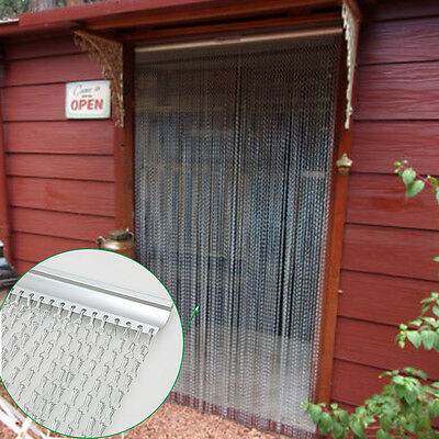 Aluminium Metal Chain Fly Pest Insect Door Screen Curtain Control SILVER UK New!