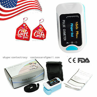 USA OLED Fingertip Pulse Oximeter Blood Oxygen Saturation Monitor with bag,BLUE