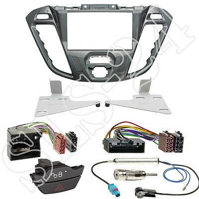 Ford Transit /Tourneo Custom 2-DIN Radioblende Farbe nebula + ISO-Adapter Set