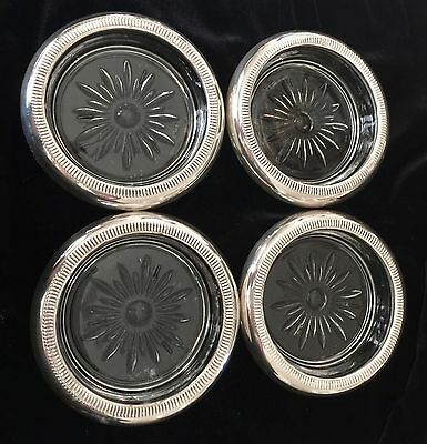 Four CROWN Sterling Silver Glass Coasters Vintage Beaded Set 4