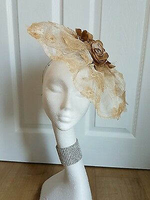 Hollies Fascinators sinamay nude gold roses lace wedding races