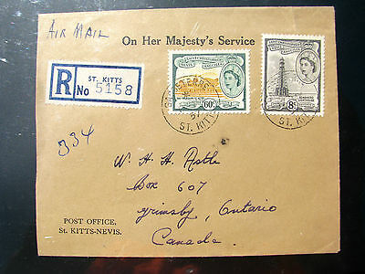 St Kitts-Nevis 1955 Reg. 2 x covers to Canada , V.Fine