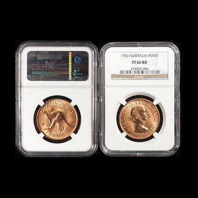 Australian 1963 Proof QEII Penny High Graded NGC PF66RD