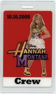 Hannah Montana Miley Cyrus authentic 2008 concert tour Laminated Backstage Pass