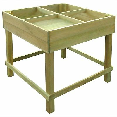 Raised Garden Planter Wooden Stand Square Vegetable Patio Herb Flower Box