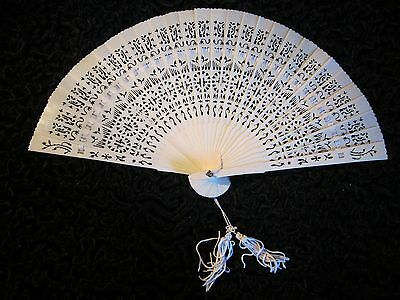 Antique Chinese Canton Carved Pierced Brise Eventail Fan 'Bovine Bone' Vintage