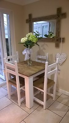 Rustic Shabby Chic Farmhouse Table And Chairs IN WHITE OR CREAM