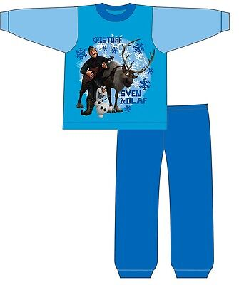 Disney Frozen Kristoff Sven Olaf Boys Blue Pyjamas Pjs Childrens Size 1-4 Years