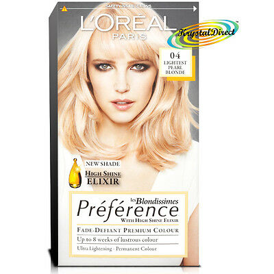 Loreal Preference 04 Lightest Pearl Blonde Permanent Hair Colour Dye