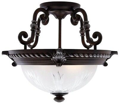 Semi Flush Mount Light Fixture Traditional Antique Elegant Bronze Frosted Shade