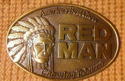 AMERICA'S BEST CHEW *RED MAN CHEWING TOBACCO*BELT BUCKLE new-great Detail