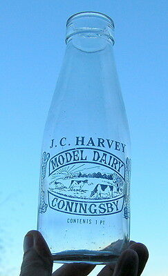 milk bottle : lovely old Harvey of Conningsby : dairy