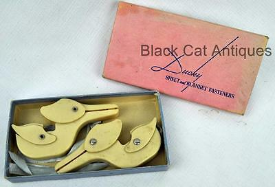 Vintage Ducky Sheet & Blanket Fastener Set Clips with Box for Baby sheets