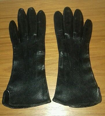 Vintage 1950s 60s black real leather ladies gloves small