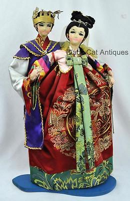 Large pair of Vintage Korean Wedding Dolls 21 inches tall -Hand Made