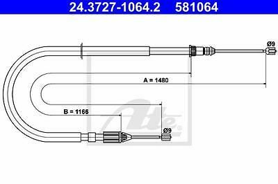 Rear Hand Brake Cable ATE 24.3727-1064.2 for Renault