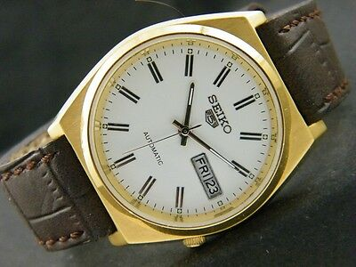 UNUSED SEIKO 5 AUTOMATIC JAPAN MEN'S D/D GOLD PLATED WATCH lot837-a44895