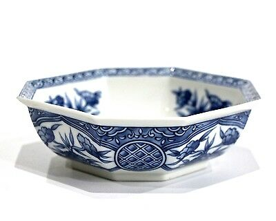 Japanese Fine Porcelain Octagonal Shaped Bowl Floral Blue & White - 1988
