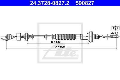 Clutch Cable ATE 24.3728-0827.2 Peugeot