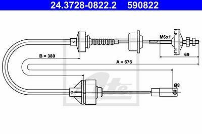 Clutch Cable ATE 24.3728-0822.2 Peugeot