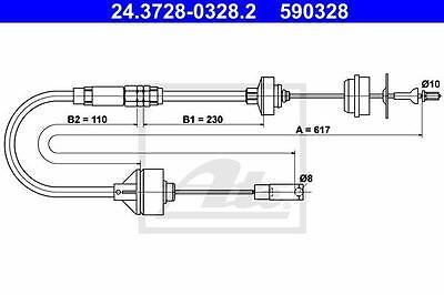 Clutch Cable ATE 24.3728-0328.2 for Citroen Peugeot