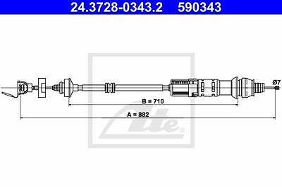 Clutch Cable ATE 24.3728-0343.2 for Citroen Peugeot