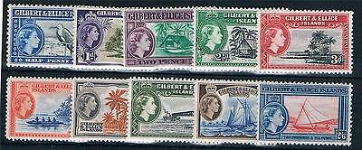Gilbert & Ellis Is 1956 Definitives to 2/6d SG 64/73 MNH
