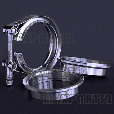 """2.5"""" inch 64mm V-Band Vband Clamp Stainless Steel Flange exhaust pipe tailpipe"""