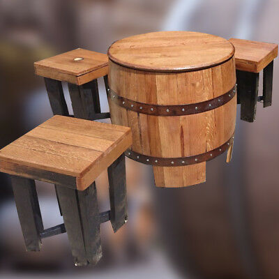 """Solid Oak Recycled Whisky Barrel """"DUNDEE"""" Garden Table & Stool Set"""