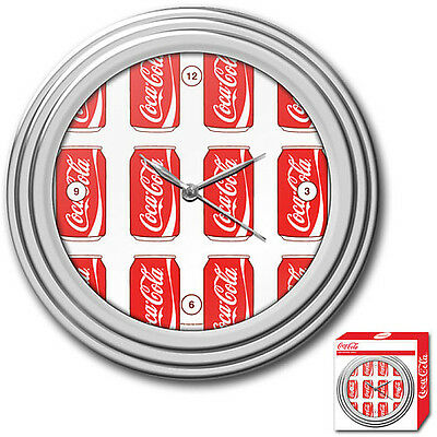 Global Coca-Cola 11.75In; Clock with Chrome Finish - Cans Style
