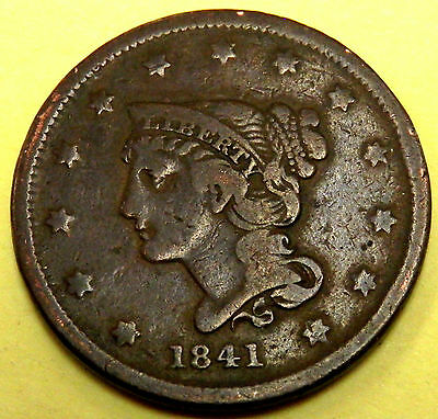 1841 P United States Braided Hair Copper Large Cent