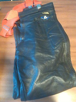 Akito Leather Motorbike Trousers With Braces Size 36
