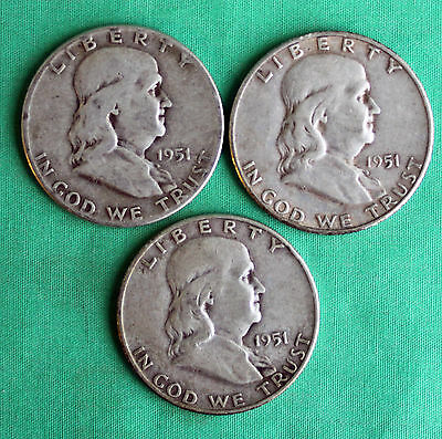 Lot of three1951 PDS Franklin Half Dollars US Coins Silver Average Circulated