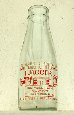 milk bottle : lovely rare old Jagger of Queensbury : dairy