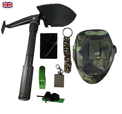 SURVIVAL Folding Shovel/Axe Compass Kit For Camping Outdoor Hiking Bushcraft UK