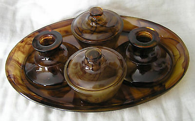 Stunning Davidson Amber Coloured Cloud Glass Dressing Table Set - 5 Pieces