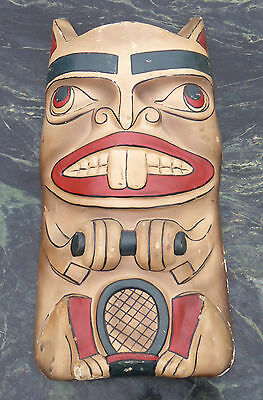 Old Vintage Native American Canadian North West Coast Moulded Totem Pole Plaque